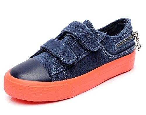 Legend E.C Fashionable Boys' And Girls' Denim Skateboard Sneakers Canvas Shoes (9.5, Deep Blue)