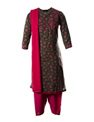 Rani Pink Mini Floral Printed Fine Cotton With Mirror Worked Neck Line Salwar Suit