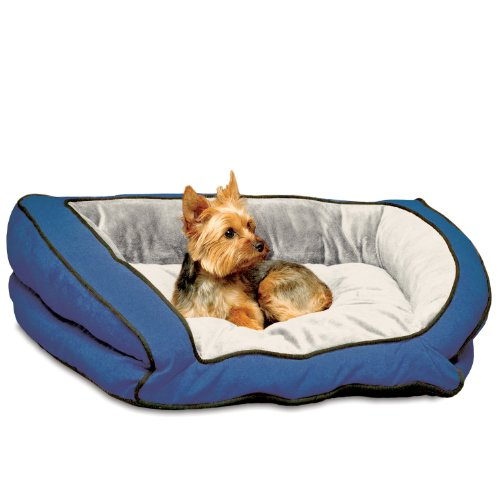 K&H Bolster Couch Pet Bed, Small 21-Inch By 30-Inch, Blue/Gray front-906751
