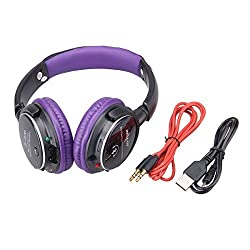 NEWSTYLE Bluetooth Stereo Music Wireless + Wired Adjustable Headphones, Handsfree Calling, Bulit in Mic, Support TF Card, FM Radio for Cellphones Computer Loptop Tablet PSP etc. Bluetooth Devices - Purple