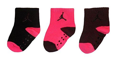 Jordan Jumpman 23 Baby Girls' 3-pair Crew Socks (12-24 Months, Bugundy)