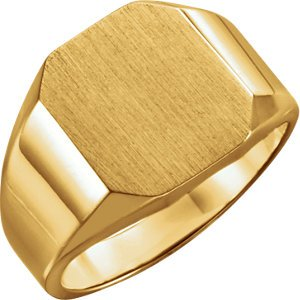 14kt Yellow 12X10mm Octagon Signet Ring ,Size- 6
