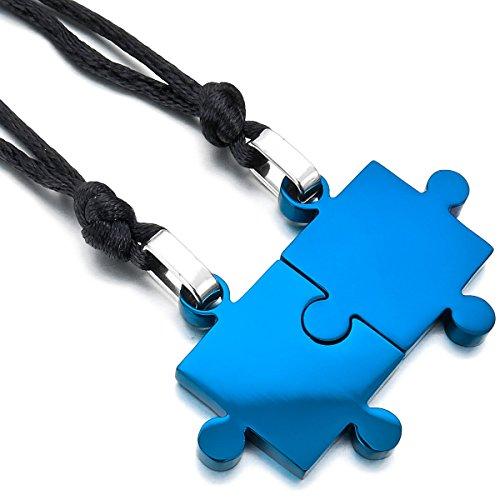 MunkiMix 2 PCS Acciaio Inossidabile Pendente Ciondolo Collana Blu Jigsaw Puzzle Amore San Valentino Coppia Lui & Lei Set Regolabile 20~22 Pollici Catena Catenina Uomo,Donna