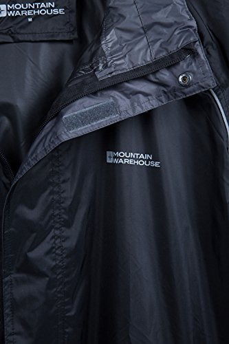 Mountain Warehouse Herren Pakka Wasserdicht Jacke Regenjacke Einpackbar Faltbar Mantel Windjacke outdoor sport Schwarz Large -