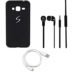 NIROSHA Cover Case Headphone USB Cable for Samsung Galaxy J5 - Combo