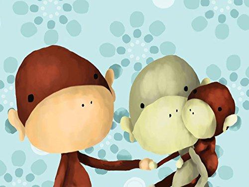 Oopsy Daisy The Monkeys Three Powder Blue Stretched Canvas Wall Art by Meghann O'hara, 24 by 18-Inch