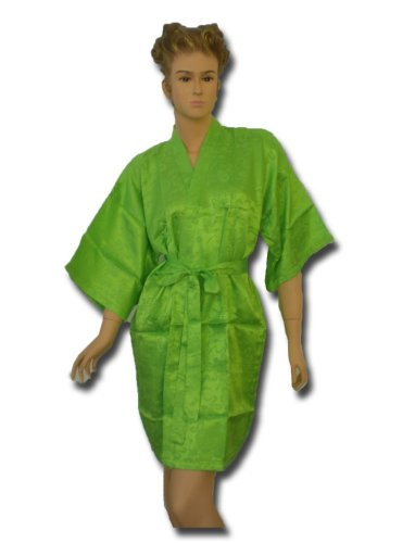 Satin Kimono Bath Robe Night Gown Geisha Flower Japan unisize for L / XL green KN04