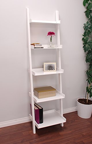 nexxt Hadfield 5-Tier Leaning Wall Shelf - 18 by 67-Inch, White Storage Mahogany 5 Shelf Bookcase