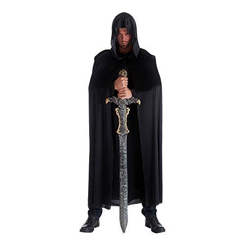 Mantello nero con cappuccio in maglino cm 140