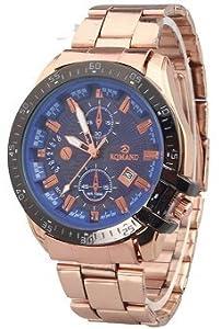 Fake Two Laps Calendar Stainless Steel Quartz Watch for Men RoseGold+Blue