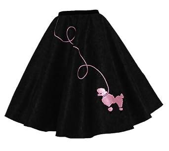 Hip Hop 50s Shop Adult Poodle Skirt - XL/2X - Black with Pink