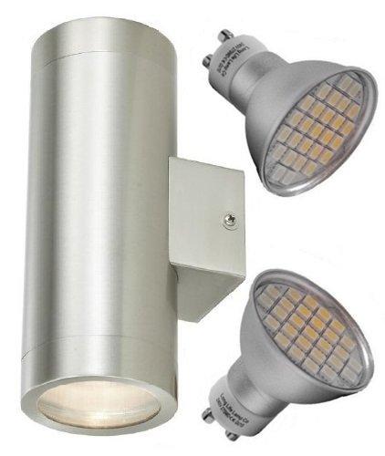 Long Life Lamp Company IP65 - Doppia lampada a LED da esterni in acciaio INOX,  da 5 watt e 400 Lumens, a risparmio energetico
