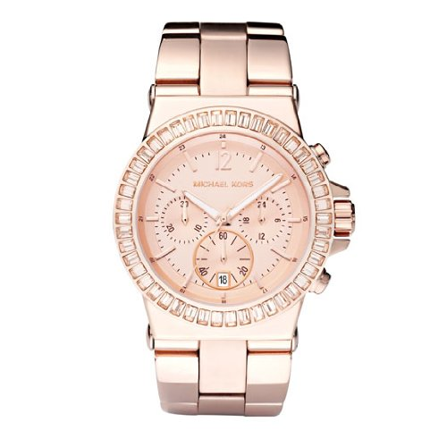 Michael Kors Ladies Baguette Bezel Rose Gold Tone Bracelet Watch MK5412