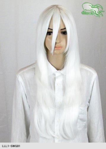 スキップウィッグ 魅せる シャープ 小顔に特化したコスプレアレンジウィッグ フェザーロング エンジェルホワイト