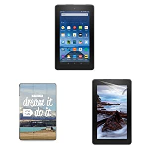 "Fire Essentials Bundle including Fire 7"" Tablet without Special Offers, caseable Dream it Cover and Screen Protector"