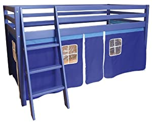Montreal Cabin Bed Midsleeper with Tent - Solid Pine Wood - Blue or Pink (Blue)