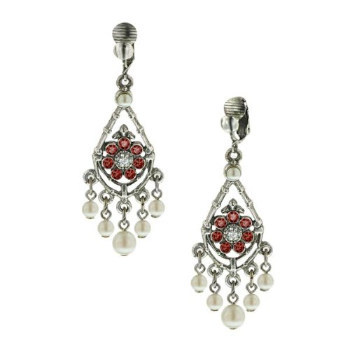 Bridal Siam Chandelier Clip Earrings