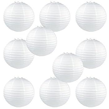 WYZworks Round Paper Lanterns 10 Pack (White, 12