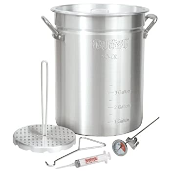The Bayou Classic Turkey Fryer is the perfect choice for frying whole turkeys in as little as 45 minutes! Made of commercial strength aluminum, this pot is specifically designed for frying whole turkeys. The tall, narrow patented design requires le...