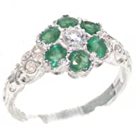 Solid 9K White Gold Womens Emerald & Diamond Vintage Daisy Ring – Finger Sizes 4 to 12 Available