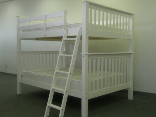 Bedz King Bunk Bed, Full Over Full Mission Style, White
