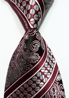 Scott Alania® New Classic Dark Red Silver 100% New Paisley Jacquard Woven Silk Men's Tie Necktie
