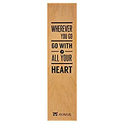 Wherever You Go, Go with All Your Heart - Graduation Gift Wood Bookmark Entrepreneur Quote Inspirational Quotes Self Improvement Travel Made in USA