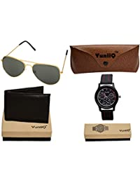 Combo Pack Of Golden Black Aviators With YuniiQ Wallet With Balck Dial Chronograph Stylish Watch.