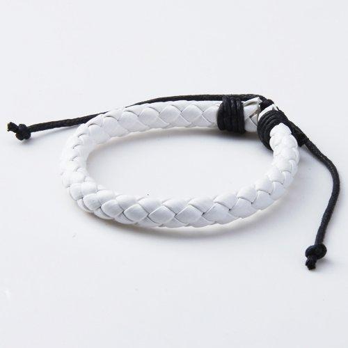 Unisex Adjustable Leather Braided Surfer Bracelet Wristband - White