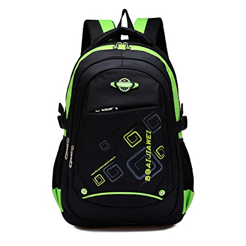 Zerd Student Fashionable Lightweight Water Resistant Backpack Daypack Green front-497843