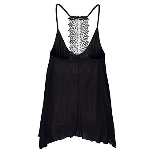 Amlaiworld Donna T-shirt,Modale girocollo senza maniche gilet (M, nero)