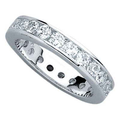 Sterling Silver Clear Cubic Zirconia 4 mm Eternity Wedding Band Ring - Size 8