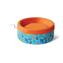 K&H Thermo-Kitty Heated Cat Bed, Large 20-Inch Round, Fish Print, Red