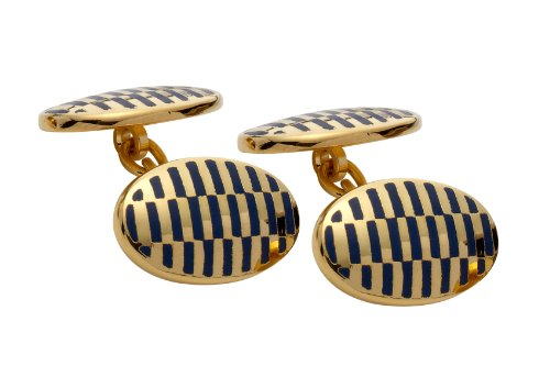 Code Red Gold Plated Cufflinks with Navy Enamel and Chain Link