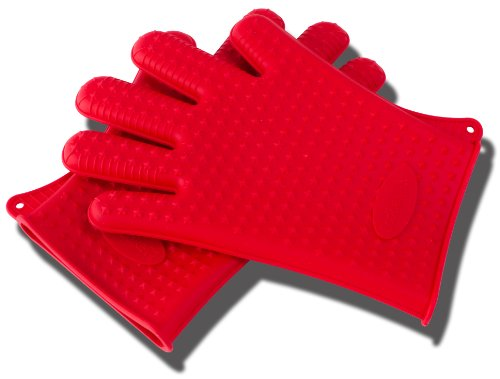 Fantastic Deal! Red Silicone BBQ and Kitchen Glove Set. Great for Barbeque Grill and as Kitchen Poth...