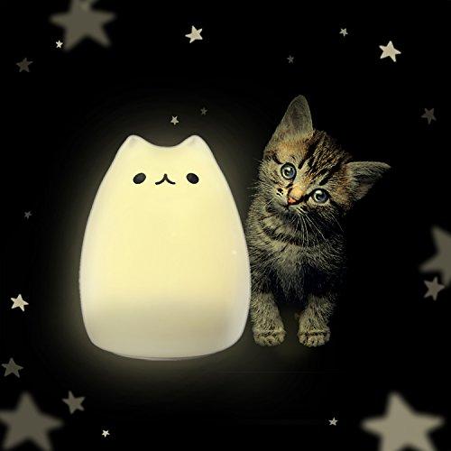【萌えニャンコ呼吸ランプ】ZNT LED デスクライト ベッドランプ 猫ランプ改良版 シリコン素材 二つモード USB充電 24時間照明 飾り ZNT-C101(ホワイト)