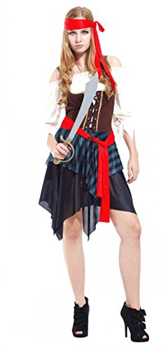 Treasure-box Sexy Womens Off-the-Shoulder Pirate Costume Halloween