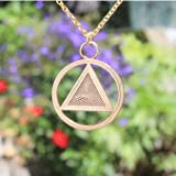 AA Symbol Peace Bronze Pendant Necklace on 18