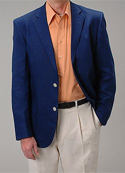 Affazy Navy Linen Blazer | William Essex Space