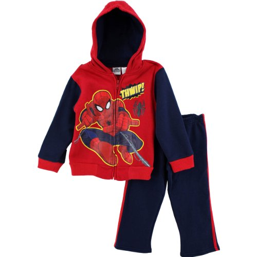 Marvel Little Boys' 2 Piece Spiderman Jackethood And Pant, Red, 3T front-1054073