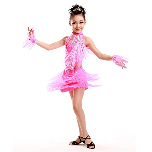 Girls' Party Dancing Dress Latin Dress Costume Split 110cm-120cm,Pink