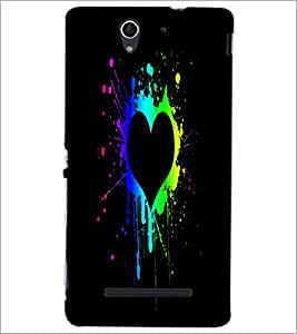 PrintDhaba Heart D-2457 Back Case Cover for SONY XPERIA C3 (Multi-Coloured)