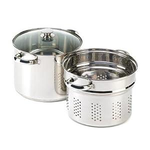 VERDUGO GIFT Stainless Pasta Cooker Stock Pot Strainer Lid Set