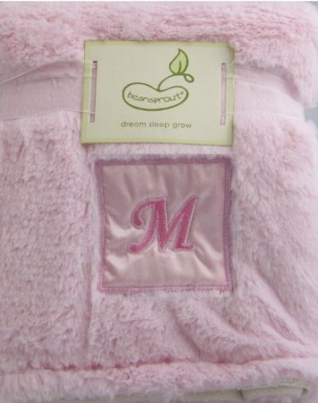 Monogram Fleece Crib Throw Pink M front-929567