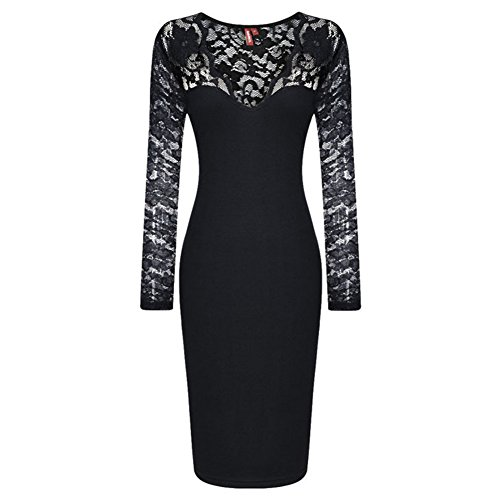 FTSUCQ Womens Lace Long Sleeve Pencil Dress, Black, US M (Chicken Loft compare prices)