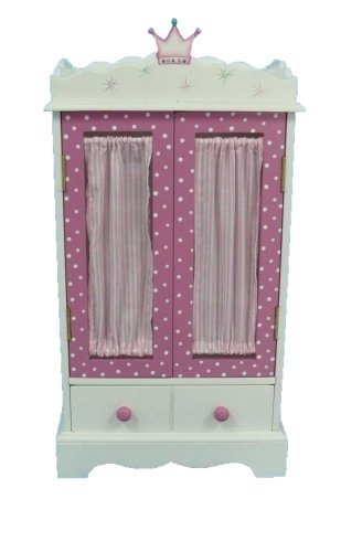 "18 Inch Doll Wish Crown Storage Armoire Furniture Fits 18"" American Girl Dolls"