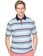 "2"" Longer Blue Harbour Pure Cotton Varied Striped Polo Shirt"