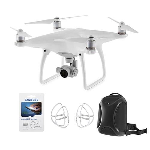 DJI Phantom 4 Quadcopter with 4K Camera, Transmitter Included - Bundle With 2x 64GB U3 Micro Card, DJI Multifunctional Backpack, Part 2 Propeller Guard Set of 4