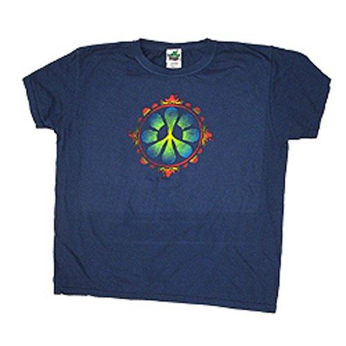 Peace Frogs Ladies Peace Flower Garment Dye Short Sleeve T-Shirt front-1073495