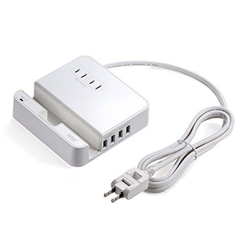 サンワダイレクト USB充電ポート付 電源タップ 2.4A/USB4ポート iPhone/スマホ/タブレット充電 スタンド付 AC2個口 1.8m ホワイト 700-TAP018